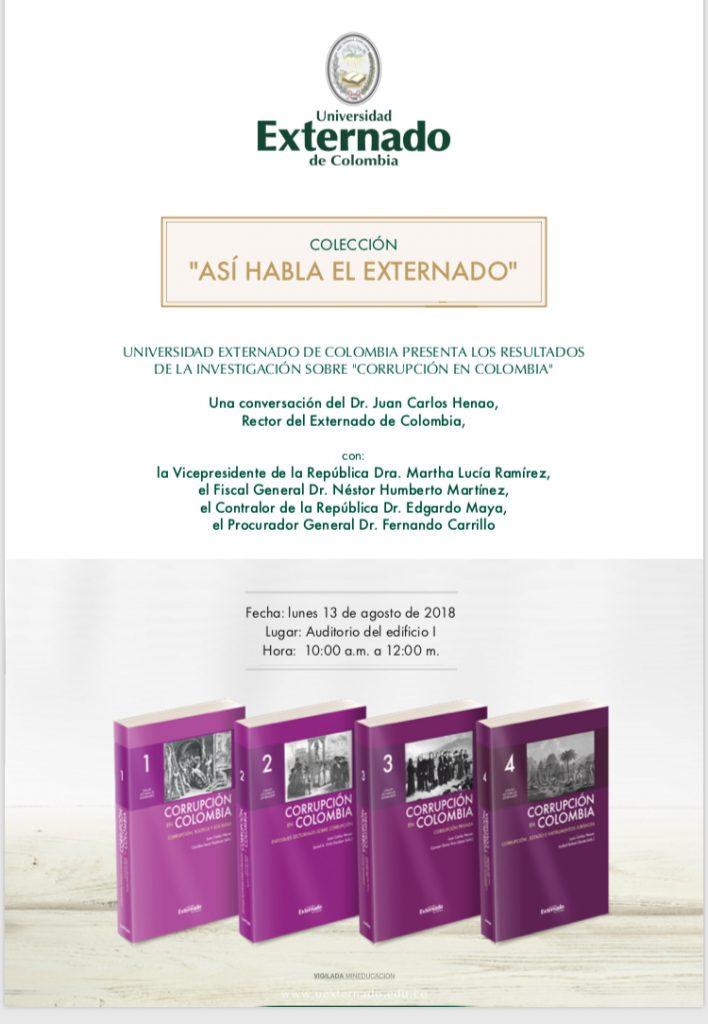 Invitación lanzamiento libro Corrupción en Colombia